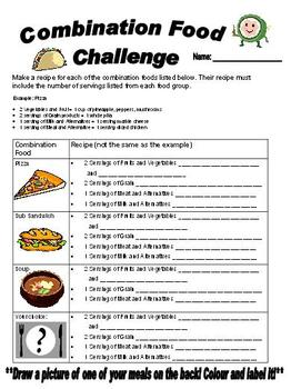 Combination Foods Health Eating Sheet