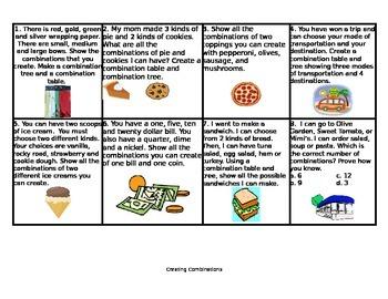 Combinations Activity Chart