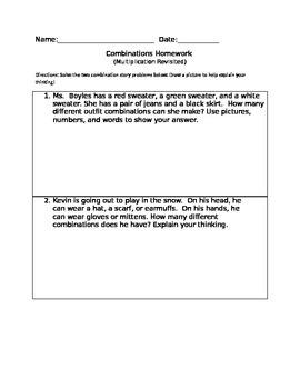 Combinations Homework