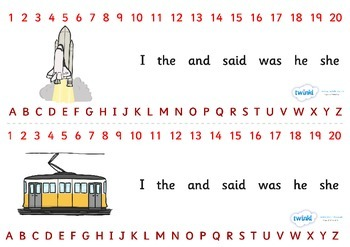 Combined Alphabet and Number Strips (Transport)