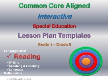 Combined Grades 1-5 Common Core Special Education  Lesson