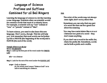 Combined Language of Science Sheet