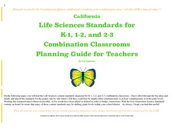 Combined Life Science Content Standards for Combination Te
