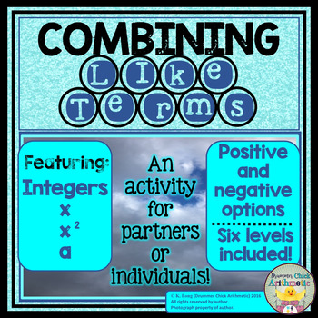 Combining/Collecting Like Terms Activity