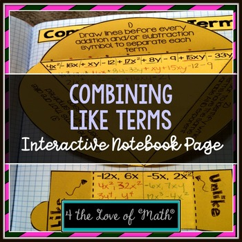 Combining Like Terms Interactive Notebook Page