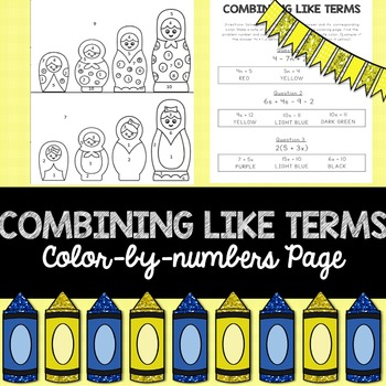 Combining Like Terms: Color-By-Numbers Activity