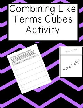 Combining Like Terms Cube Activity