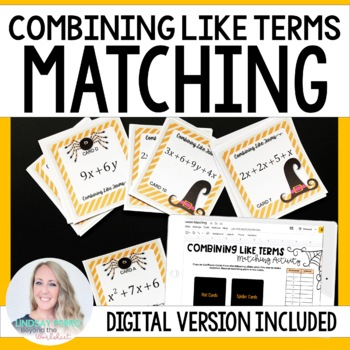 Combining Like Terms Editable Matching Activity