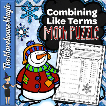 Combining Like Terms Math Puzzle - Snowman