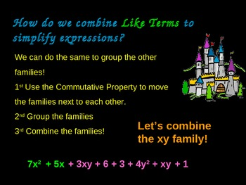 Combining Like Terms Power Point Without Integers Common Core