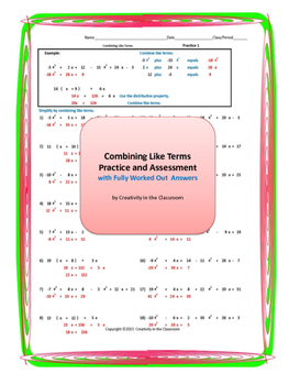 Combining Like Terms Practice and Assessment with Fully Wo