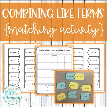 Combining Like Terms (With Integers) Matching Activity