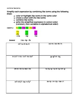 Combining Like Terms using Colors