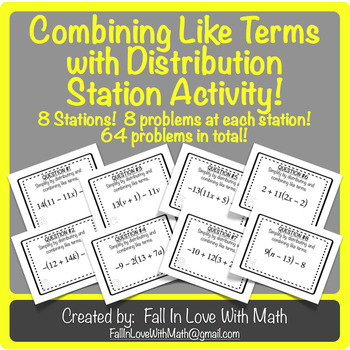 Combining Like Terms with Distribution Station Activity