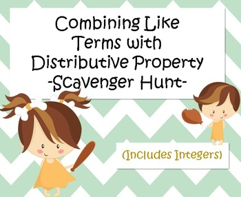 Combining Like Terms with Distributive Property (Integers)