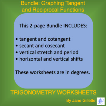 Combo: Graphing Tangent and Reciprocal Functions