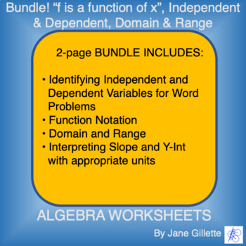"""Combo Set: """"f is a function of x"""", independent and depende"""