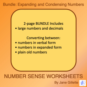 Combo Set: Expanding and Condensing Numbers