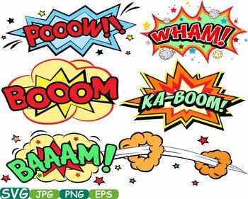 Comic Book Superheroes clipart Pop Art Text Props Speech B