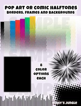Comic Book or Pop art Screentones or Halftone borders and