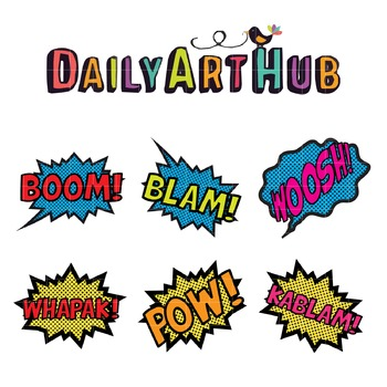 Comic Style Bubbles Clip Art - Great for Art Class Projects!