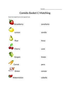 Comida Matching Worksheet