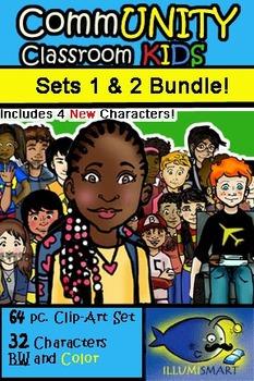 CommUNITY Classroom Kids BUNDLE: Sets 1 & 2 (64 pc. Clip-A