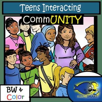 CommUNITY High School Teens Interacting: 14 pc. Clip-Art S