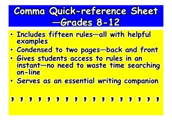 Comma Quick-reference Sheet—Grades 8-12