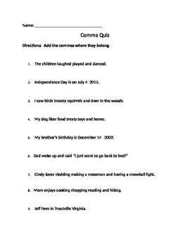 Comma Quiz
