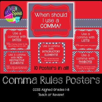 Comma Rules Posters for Elementary and Middle Grades! (Red