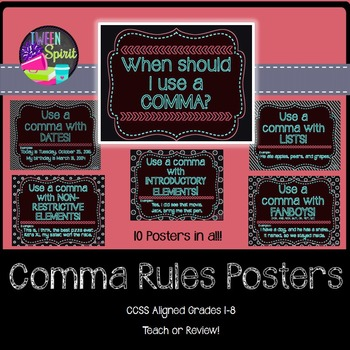 Comma Rules Posters for Elementary and Middle Grades! (Neo