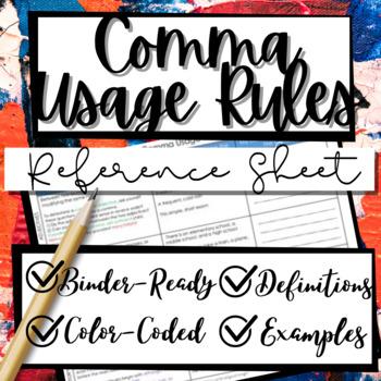 Comma Usage CHEAT SHEET **PLUS FREE Worksheet!