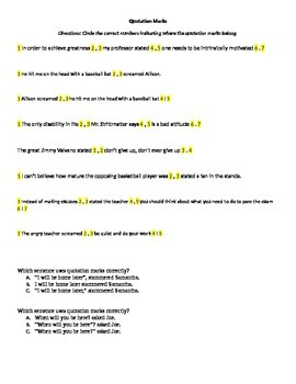 Comma/Quotation Marks Practice