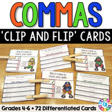 Commas Activities: 72 Commas Task Cards for Grades 4-6 (Cl