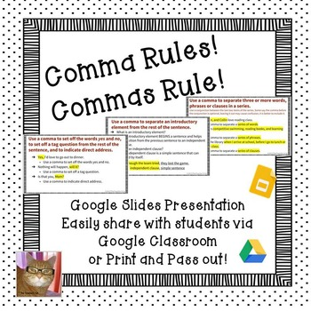 Commas - Paperless - Digital Google Lesson - CCSS L.5.2