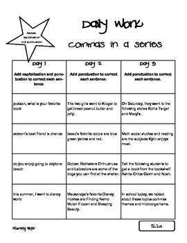 Commas In A Series Common Core Resources
