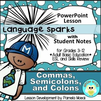 Commas, Semicolons, and Colons PowerPoint and Student Note