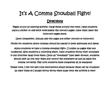 Commas Snowball Fight - Addresses and Dates