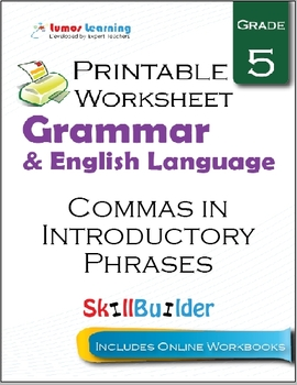 Commas in Introductory Phrases Printable Worksheet, Grade 5