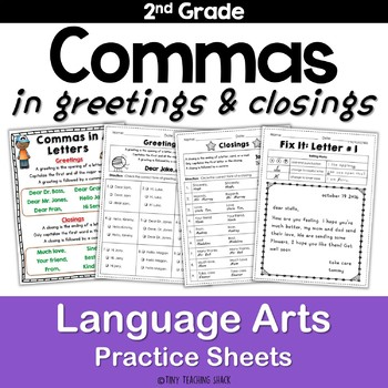 Commas in Letters Common Core NO PREP Practice Sheets
