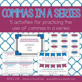 Commas in a Series ~ Five Activities