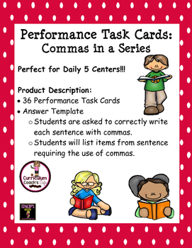 Commas in a Series Performance Task Cards