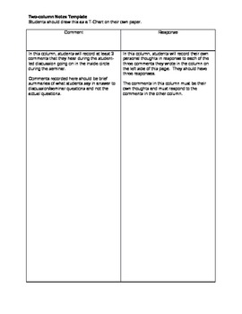 Comment and Response Notes for Student Discussions or Seminars