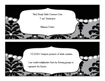 "Commom Core Math ""I Can"" Statements ( Damask and Pearl)"
