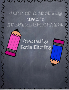 Common Acronym used in Special Education