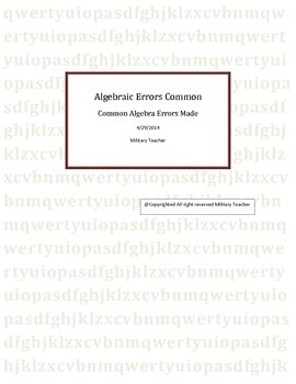 Common Algebra Errors People make