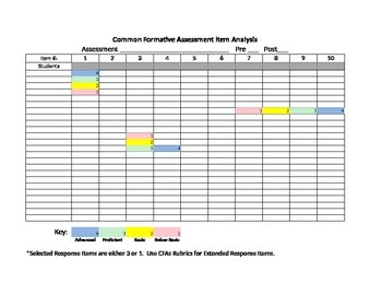 Common Assessment Item Analysis Form