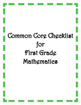 Common Core: 1st Grade Math Checklist