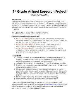 Common Core 1st Grade Writing Project- Animals
